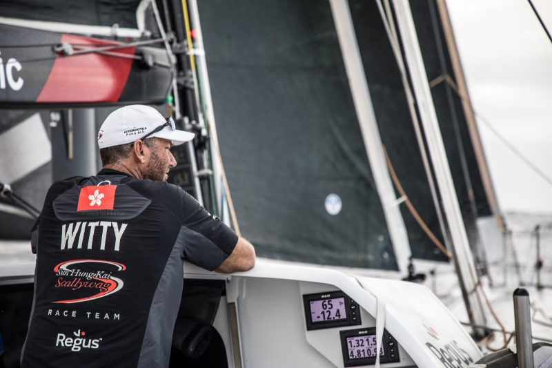 Leg 4, Melbourne to Hong Kong, day 16 David Witt looks on and wonders if the dream might become a reality on board Sun Hung Kai/Scallywag. Photo by Konrad Frost/Volvo Ocean Race. 16 January, 2018.