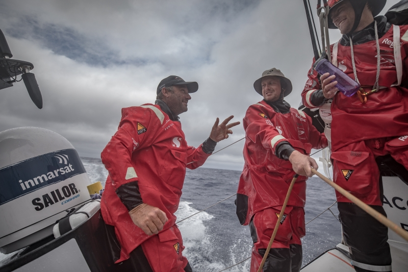 Leg 6 to Auckland, day 06 on board Sun hung Kai/Scallywag. David Witt bringing a good mood at the back of the boat.12 February, 2018.