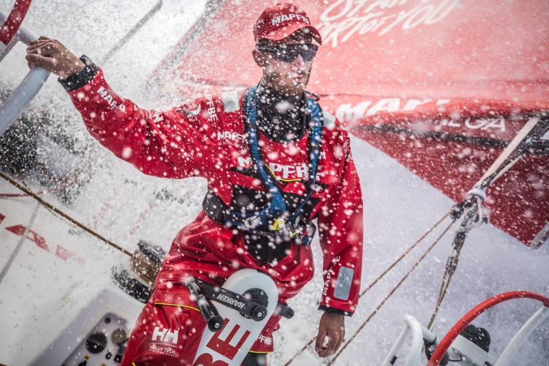 Leg 6 to Auckland, day 09 on board MAPFRE, Louis Sinclair at the aft Pedestal. 15 February, 2018.