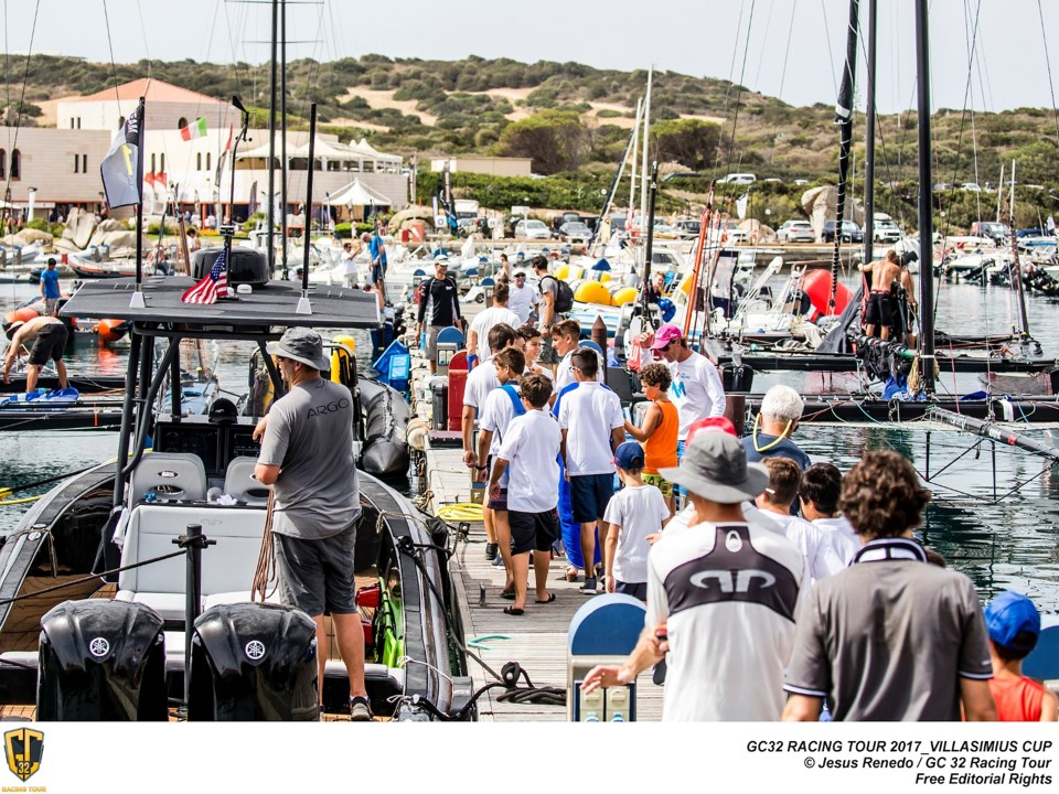 Much interest on the dock at last year's GC32 Villasimius Cup. Photo: Sailing Energy / GC32 Racing Tour