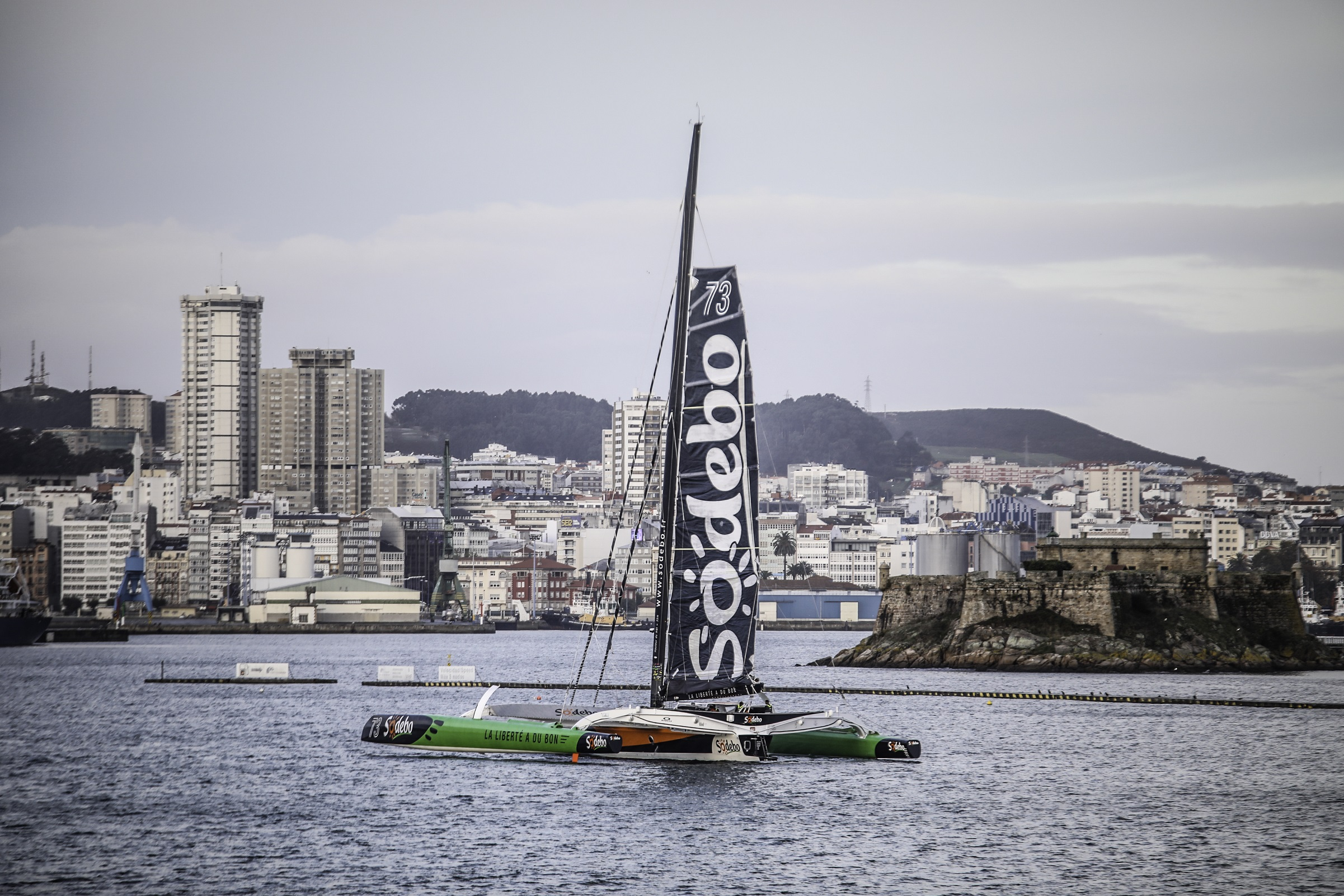Sodebo Ultim' re-start from La Coruna in northern Spain where his boat was repaired. Fred Morin / Sodebo