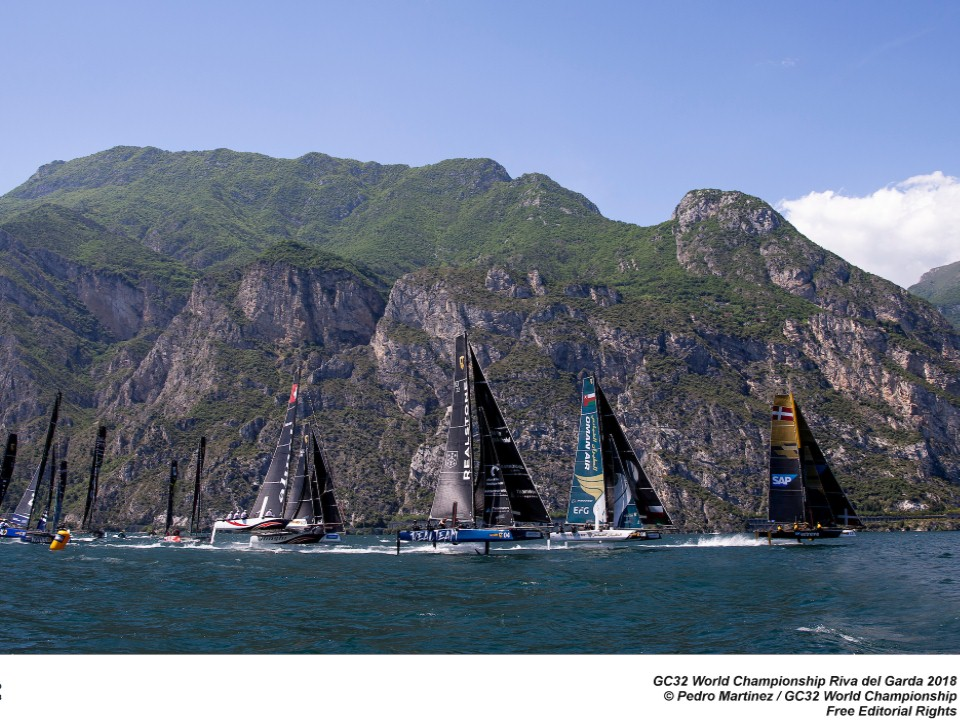 Full GC32 fleet racing at last year's World Championship on Lake Garda - a taste of things to come in 2019. Photo: Sailing Energy / GC32 Racing Tou